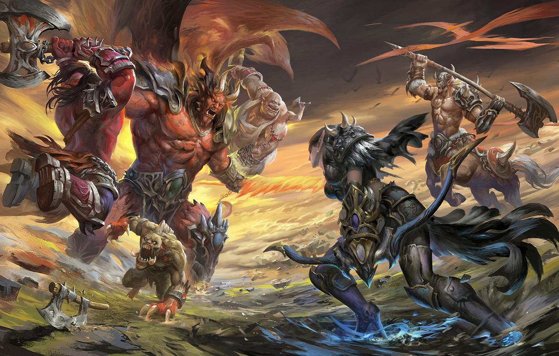 Photo wallpaper the game, fantasy, art, battle, Orc, fan, april dede