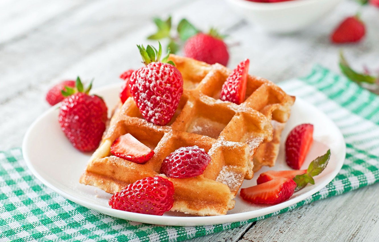 Photo wallpaper berries, strawberry, dessert, wood, waffles, cakes, napkin, strawberry, cakes, dessert, berries, waffles