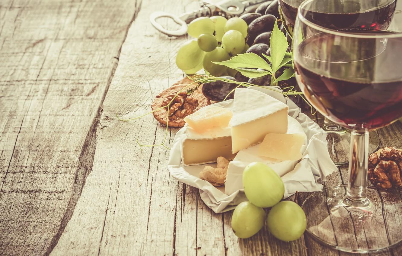 Photo wallpaper wine, cheese, grapes, appetizer, Naumenko Oleksandra