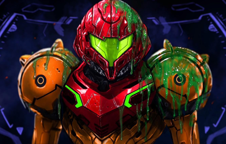 Wallpaper Helmet Armor Art Samus Aran Metroid Prime