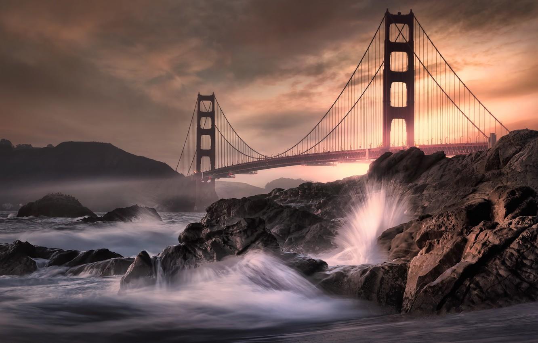 Photo wallpaper night, bridge, wave