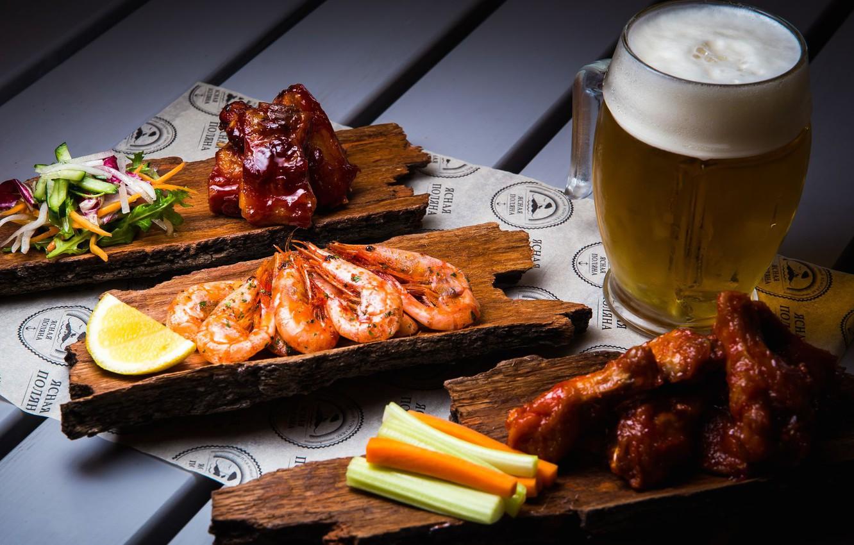 Photo wallpaper lemon, beer, meat, vegetables, shrimp, appetizer