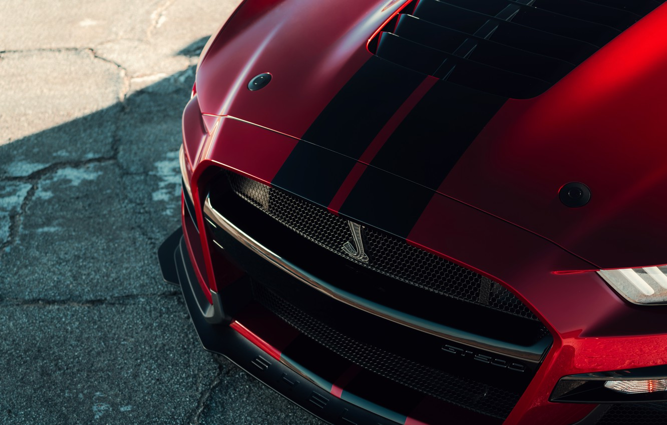 Photo wallpaper Mustang, Ford, Shelby, GT500, before, bloody, 2019