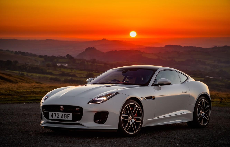Wallpaper sunset, Jaguar, 2018, F-Type, Chequered Flag ...