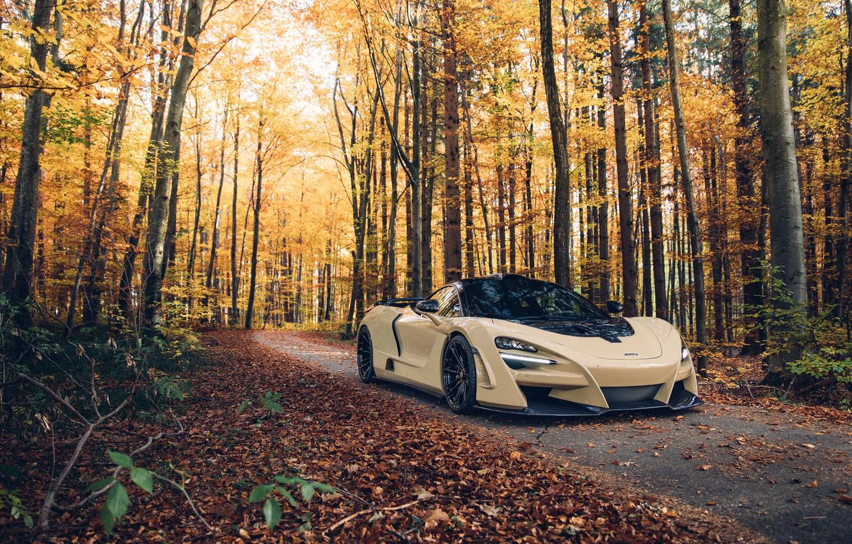 Photo wallpaper autumn, forest, McLaren, supercar, 2018, Novitec, N-Largo, 720S