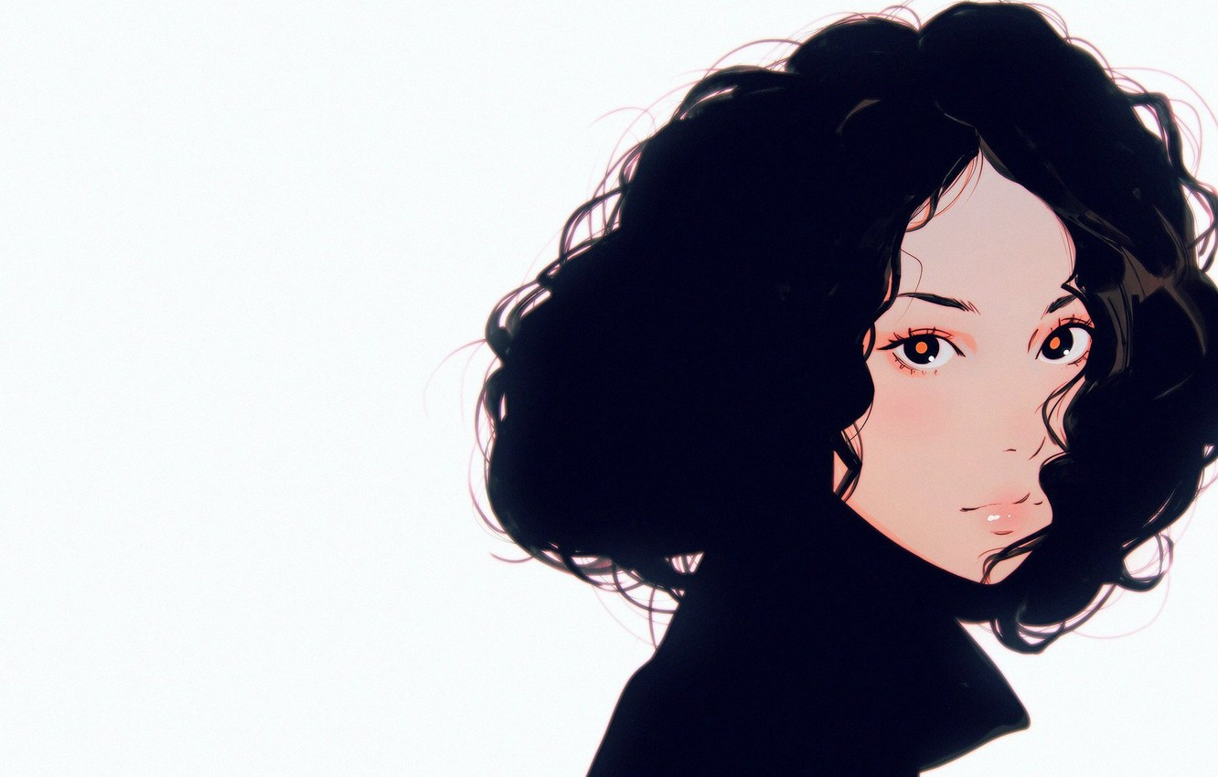 Wallpaper Look Face Brunette Collar Curls Portrait Of A Girl Curly Hair Ilya Kuvshinov Images For Desktop Section Zhivopis Download
