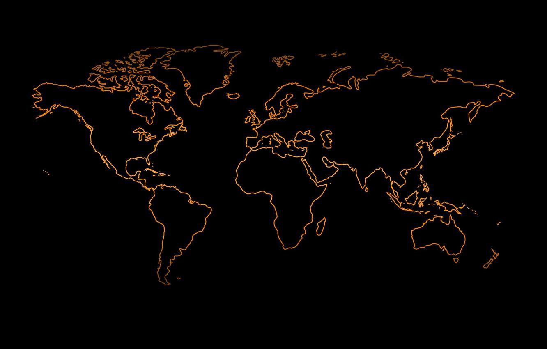 Wallpaper orange, the world, black background, world map ...