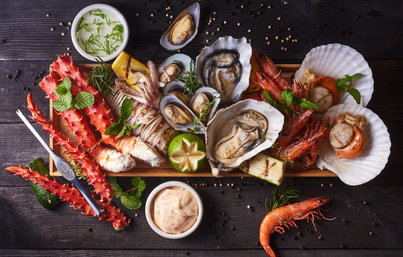 Photo wallpaper fish, lime, shrimp, seafood, cuts, oysters