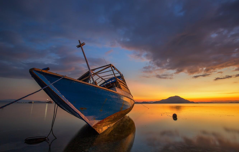 Photo wallpaper boat, Indonesia, island Ditch