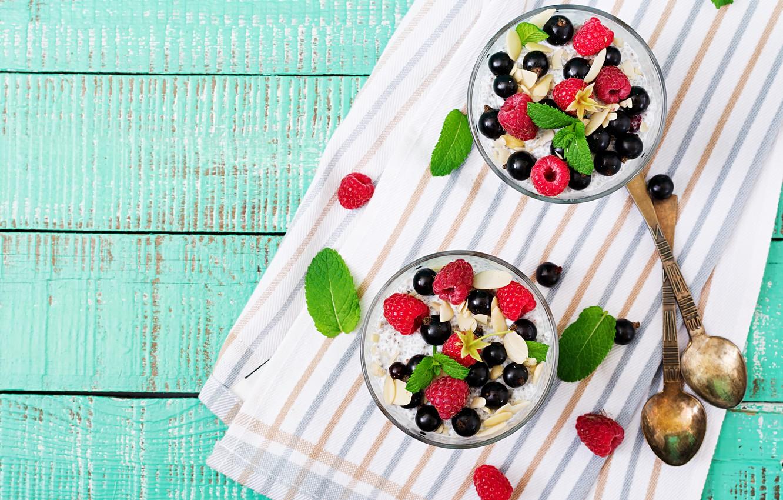 Photo wallpaper berries, Breakfast, granola, Timolina