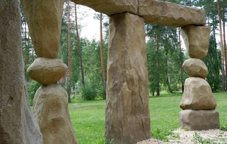 Photo wallpaper green, stones, artifact, round, birch, stonehenge, beige, ancient