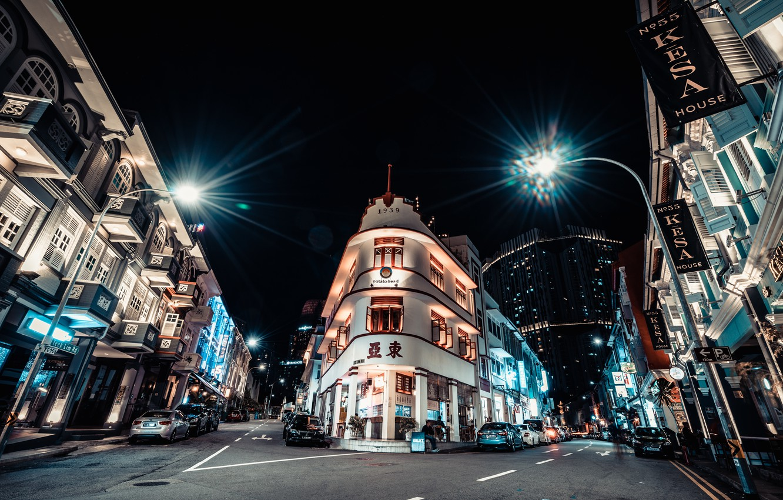 Photo wallpaper night, the city, Singapore