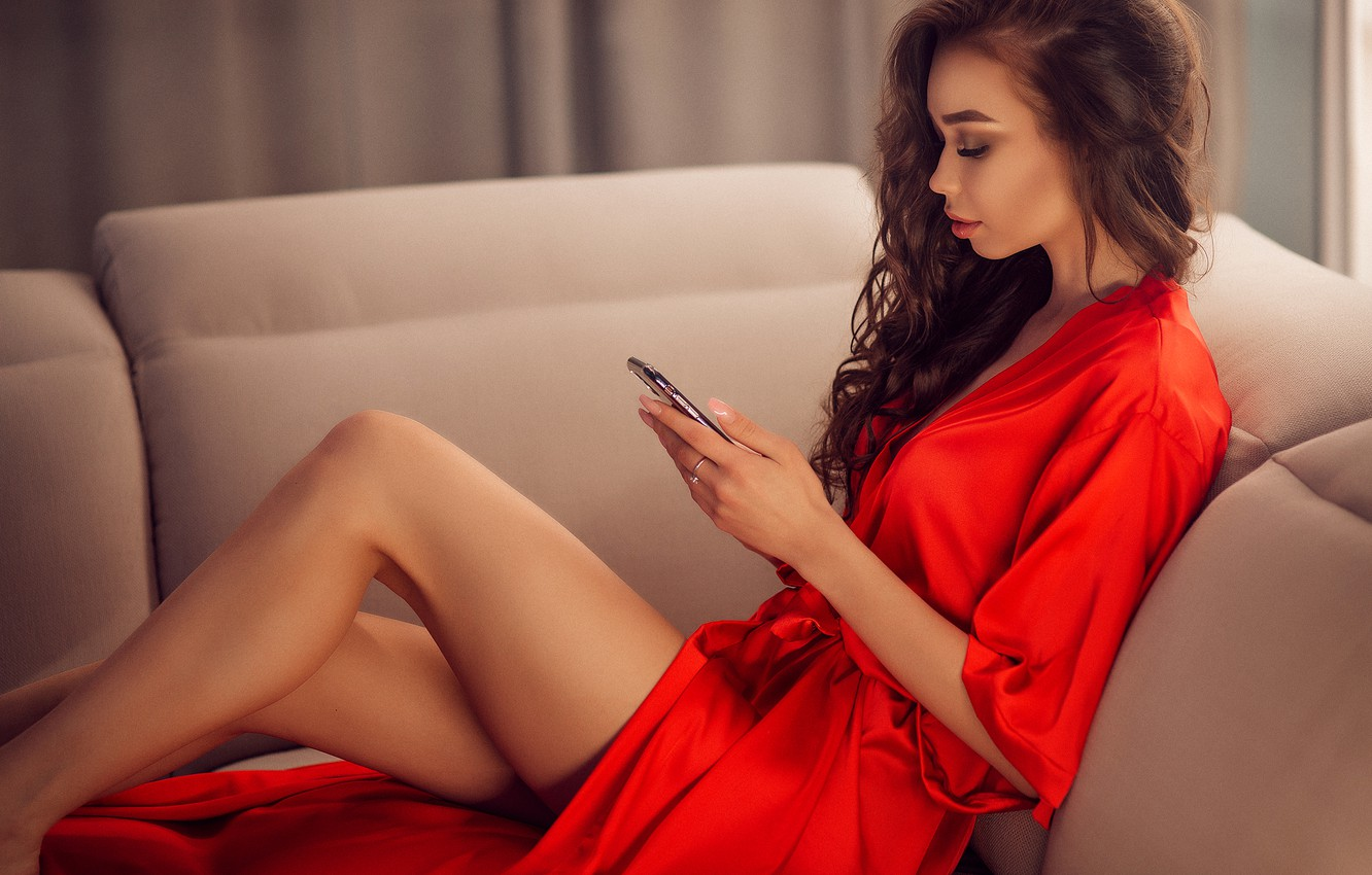 Photo wallpaper sexy, pose, model, portrait, makeup, figure, dress, hairstyle, brown hair, legs, sitting, in red, on …
