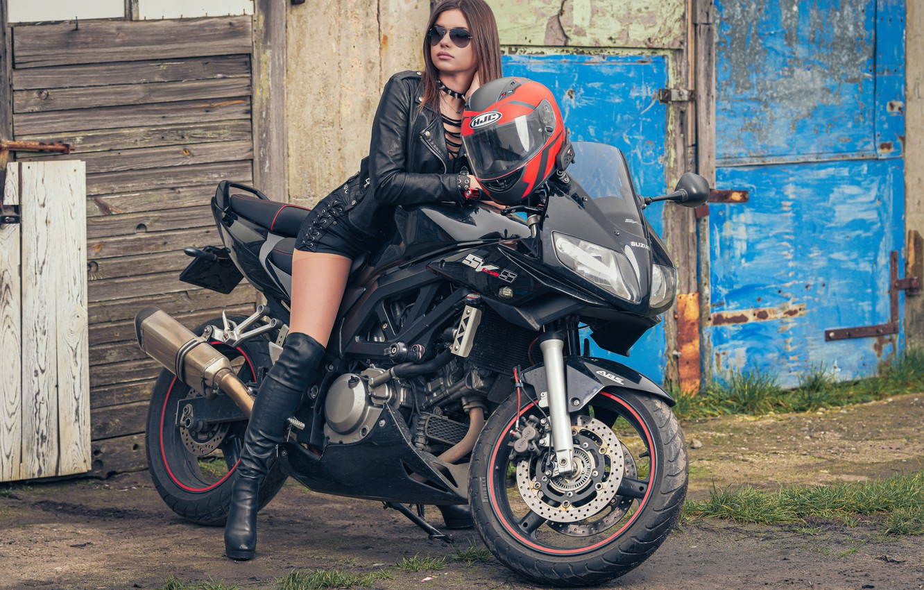 Photo wallpaper girl, background, motorcycle