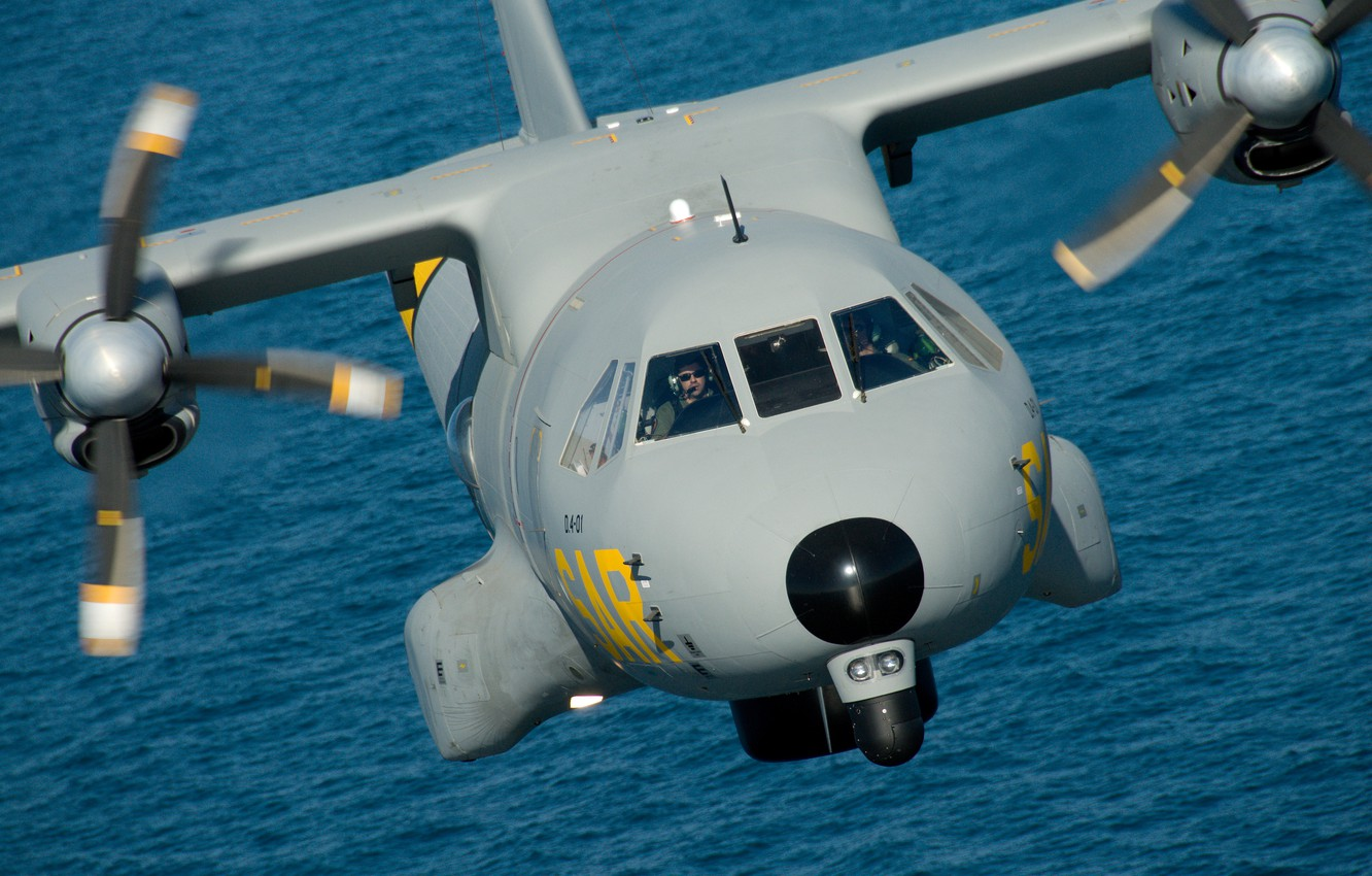 Photo wallpaper water, flight, military transport aircraft, Spanish Air Force, Airbus CN-235 T.19/D4 Ala 48, Air force …