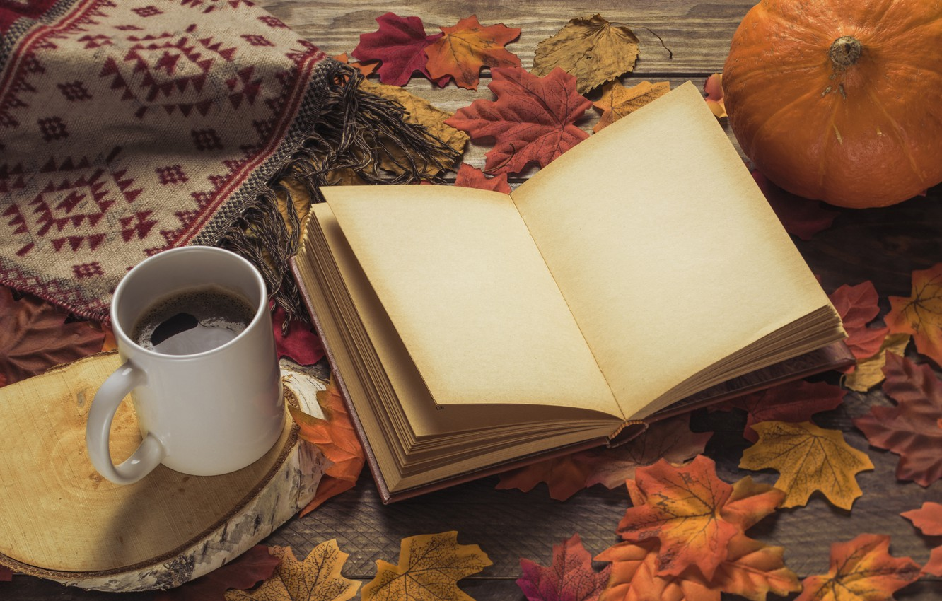 Photo wallpaper autumn, leaves, background, tree, coffee, colorful, scarf, Cup, book, Board, wood, background, autumn, leaves, cup, …