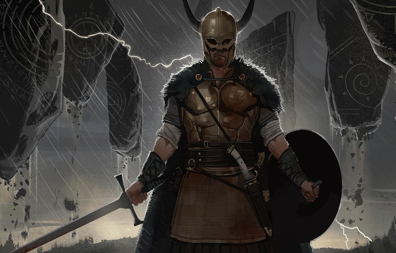 Wallpaper Weapons Lightning Armor Warrior Runes Viking Images For Desktop Section Fantastika Download