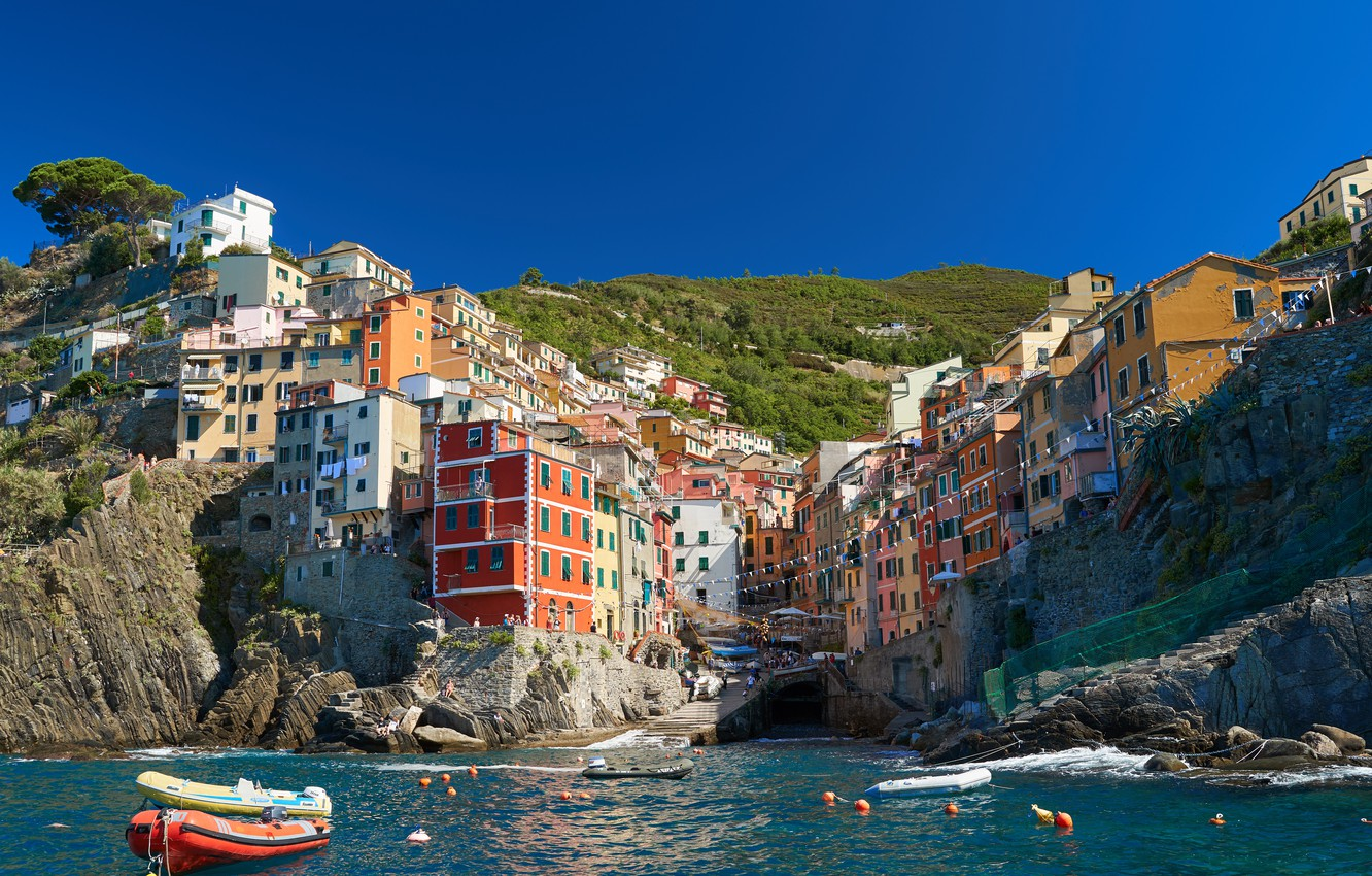 Wallpaper Sea Rock Shore Home Boats Italy Town Italy