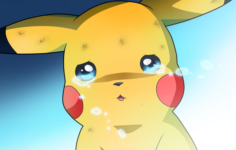 Photo wallpaper Pikachu, tears, Pokemon, crying, Pokemon