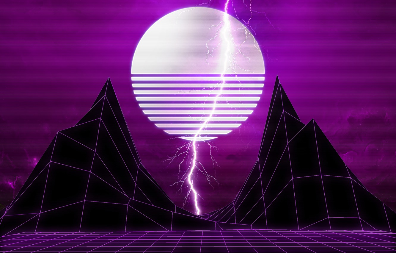 Wallpaper Mountains Music Lightning Space Star Style