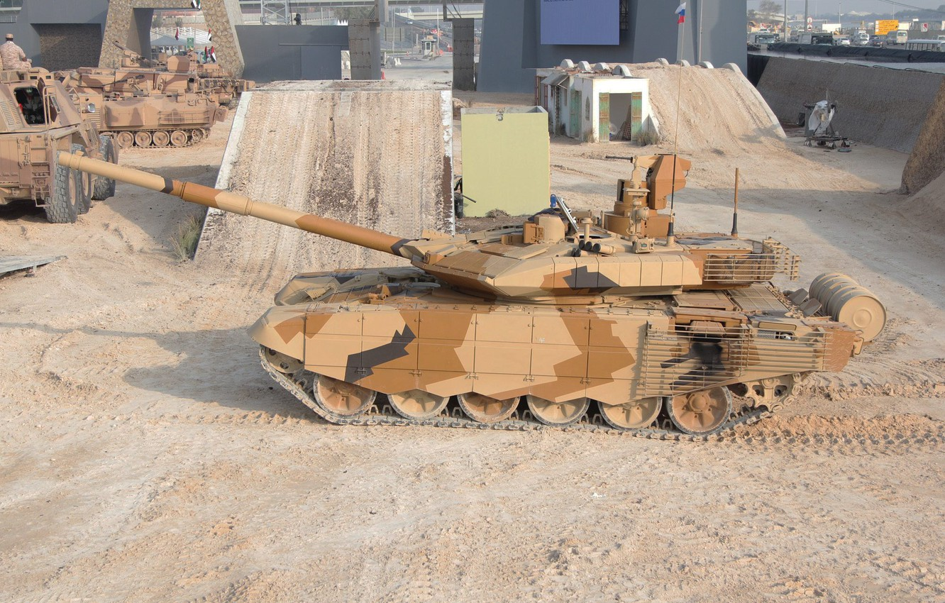 Photo wallpaper sand, UAE, Abu Dhabi, tank, T-90MS, upgraded, Uralvagonzavod, T-90MS, exhibition of weapons and military equipment, …