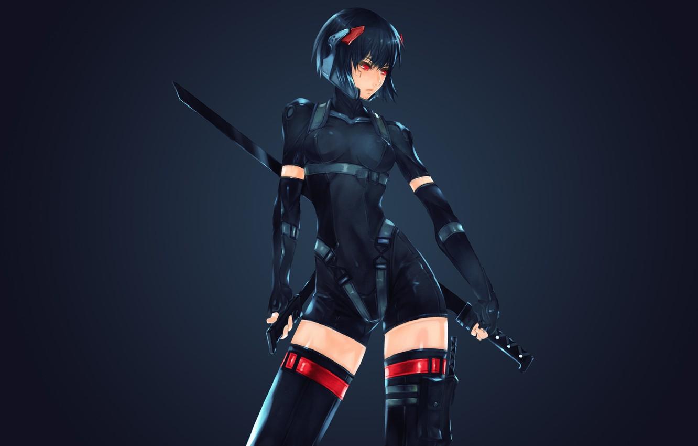 Photo wallpaper girl, sword, helmet