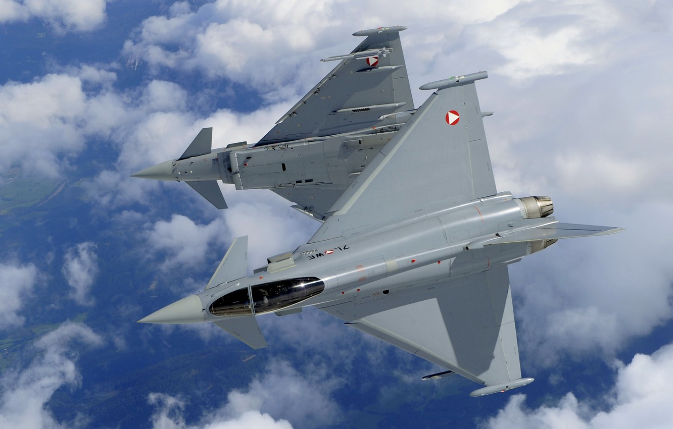 Photo wallpaper Clouds, Eurofighter Typhoon, Cockpit, Multi-Role Fighter, Of the air force of Austria