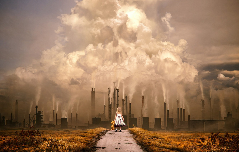 Photo wallpaper Skull, Smoke, Girl, Girl, Pollution, Art, Art, Heritage, Legacy, Smoke, Plant, Concept Art, Factory, Factory, …