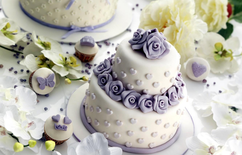 Photo wallpaper flowers, cake, decoration, orchids, dessert, decor, cupcakes, wedding, cupcakes