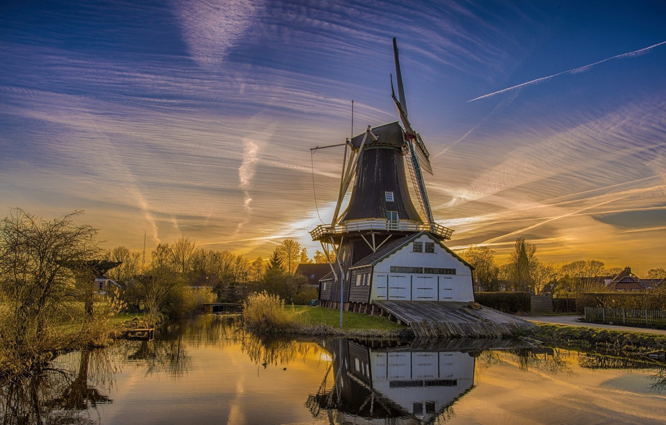 Photo wallpaper the sky, sunset, the evening, mill