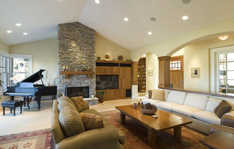 Photo wallpaper design, house, room, sofa, furniture, fireplace, living room