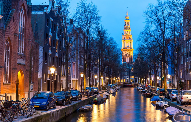 Photo wallpaper night, city, the city, lights, lights, river, Amsterdam, panorama, night, Amsterdam, Holland, Netherlands, cityscape, Canal