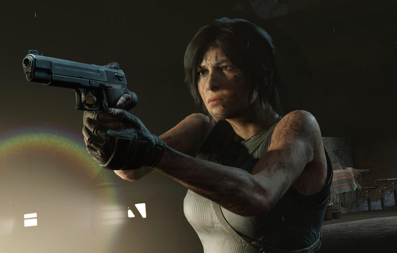 Photo wallpaper hair, Gun, Tomb Raider, Lara Croft, Shadow of the Tomb Raider