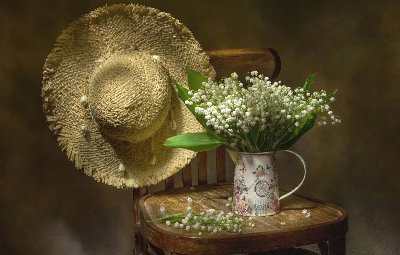 Photo wallpaper bouquet, hat, chair, lilies of the valley