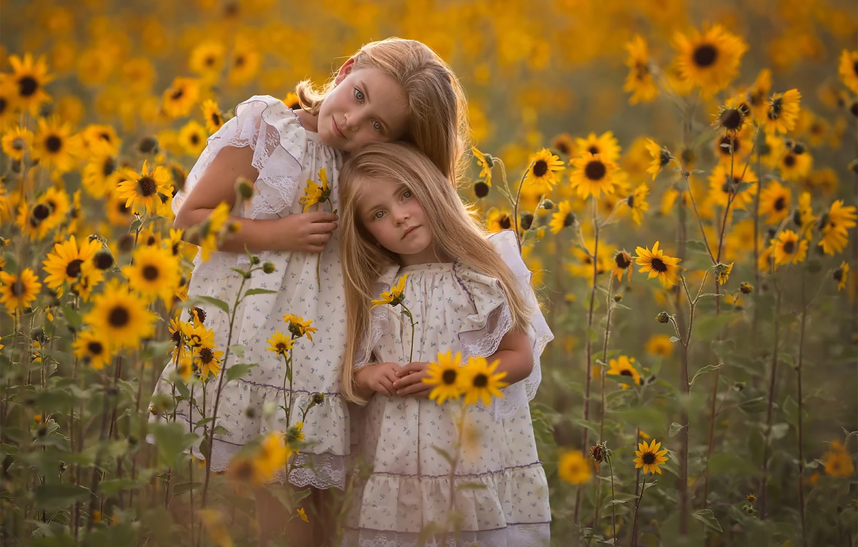 Photo wallpaper field, Girls, sisters