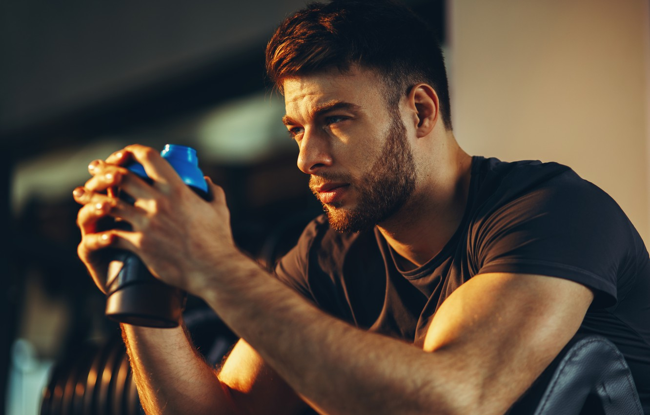 Photo wallpaper look, face, hairstyle, profile, male, muscle, Sport, the gym, training, looking