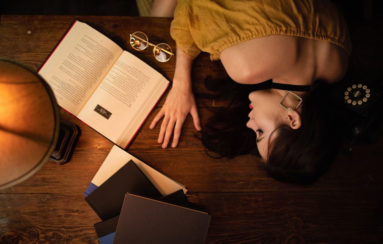 Photo wallpaper girl, mood, stay, books, lamp, sleep, the situation, glasses, phone, sleeping girl