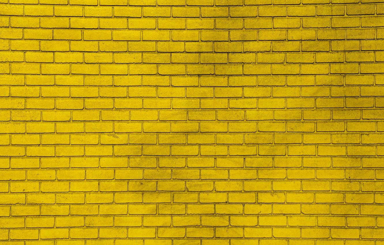 Photo wallpaper yellow, wall, paint, wall, bricks, yellow, bricks, paint
