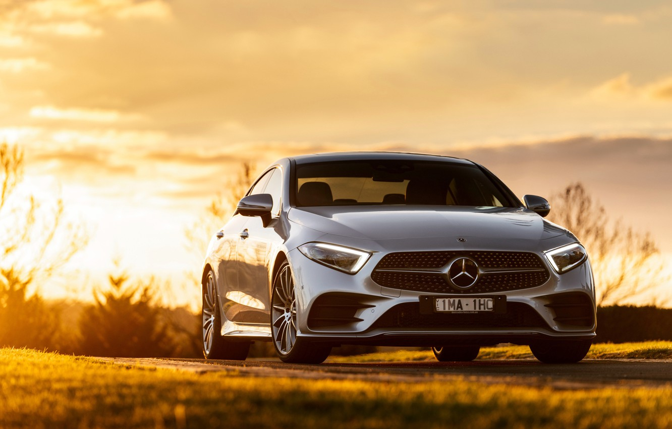 Photo wallpaper sunset, Mercedes-Benz, CLS, sedan, front view, 2018, 450, 4MATIC, AMG Line