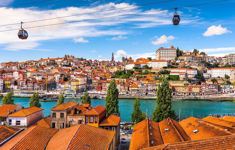 Photo wallpaper river, home, panorama, Portugal, cable car, Porto