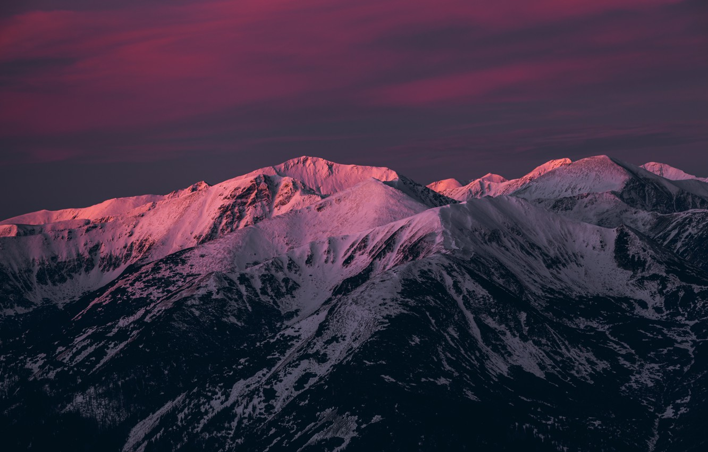 Photo wallpaper snow, landscape, mountains, nature, twilight