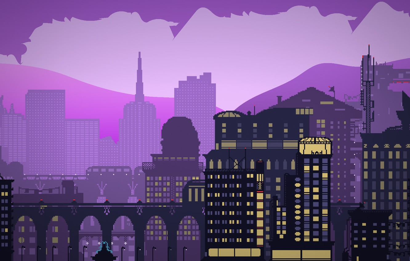 Photo wallpaper Minimalism, The city, Style, Building, City, Architecture, Art, 80s, Pixels, Style, Illustration, 80's, Synth, Retrowave, ...