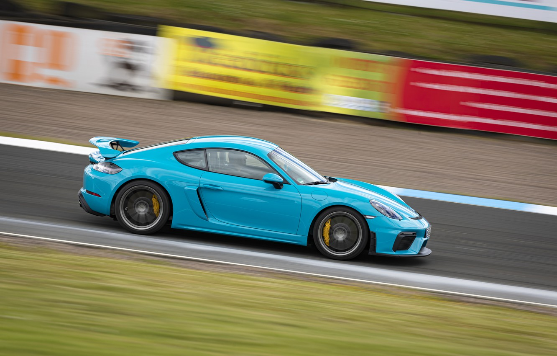 Photo wallpaper Porsche, Speed, Profile, Cayman, Track, GT4, 2019, Porsche 718 (982) Cayman GT4