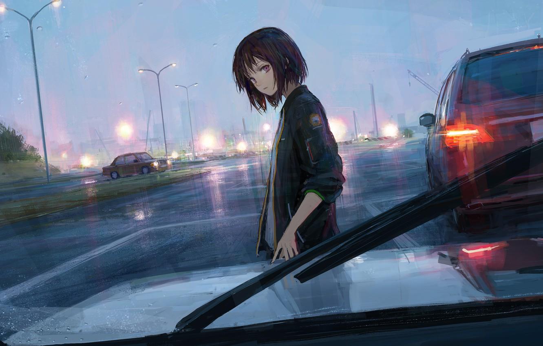 Photo wallpaper road, machine, girl, rain, shionnn.k