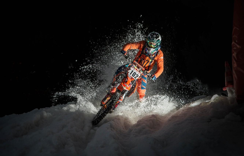 Photo wallpaper snow, race, motorcycle