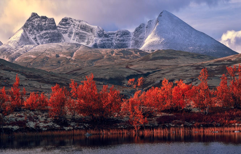 Photo wallpaper autumn, snow, trees, landscape, mountains, lake, river, rocks, hills, shore, foliage, the slopes, tops, view, …