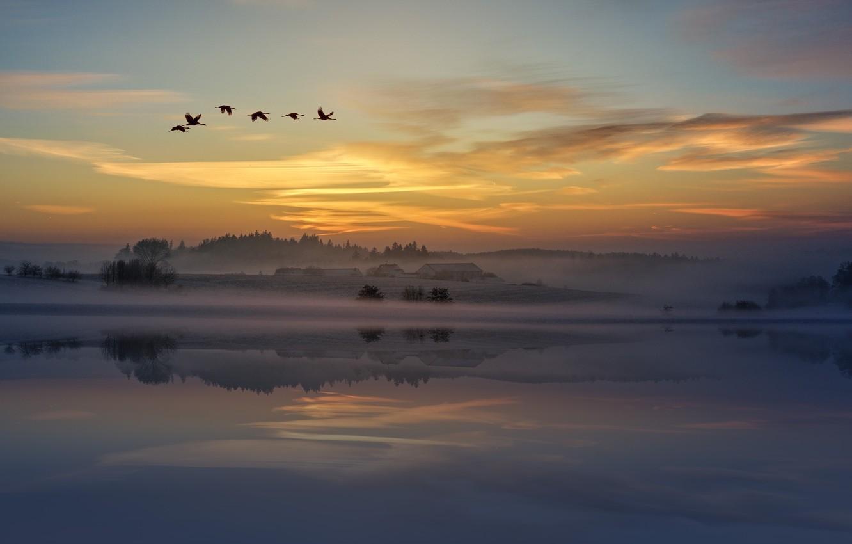 Photo wallpaper Sunset, The sky, Water, Clouds, Home, Reflection, Sunrise, Fog, Horizon, Birds, Village, Dawn, Silence, Landscape, …
