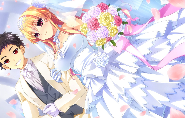 Photo wallpaper Girl, Guy, wedding, Romance, baka moe heart ni ai wo komete!