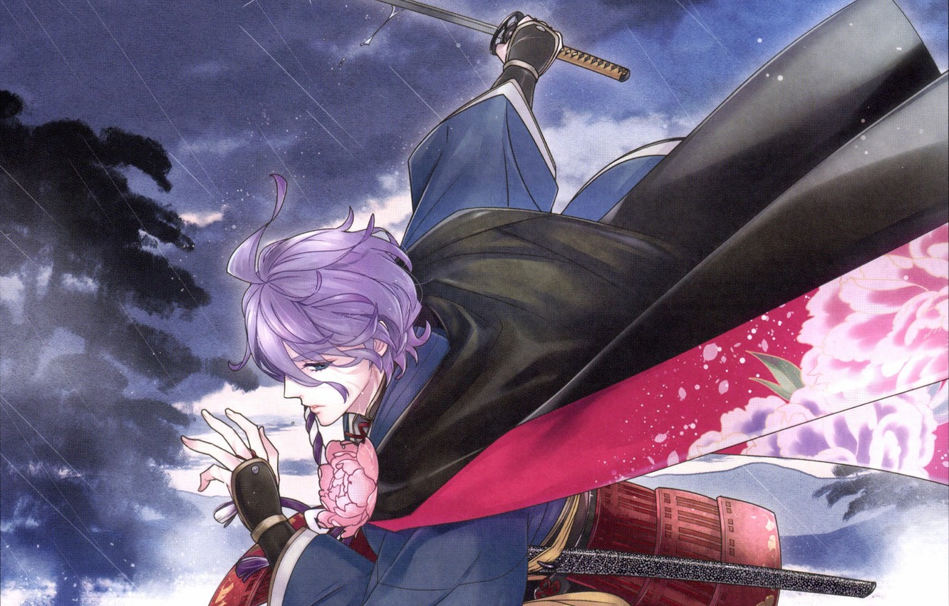 Photo wallpaper katana, cloak, the shower, Japanese clothing, lilac hair, Touken Ranbu, Kanesa Bowl, Dance Of Swords, …