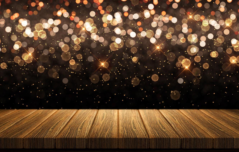 Photo wallpaper background, Board, golden, gold, gold, new year, wood, background, bokeh, bokeh, celebration, sparkle
